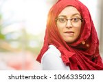 young arab woman wearing hijab... | Shutterstock . vector #1066335023