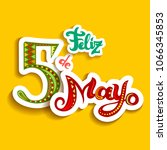 feliz cinco de mayo card with... | Shutterstock .eps vector #1066345853