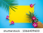 flat lay of pineapple  flowers  ... | Shutterstock . vector #1066409603