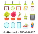 office elements set. plants in... | Shutterstock .eps vector #1066447487