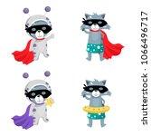 raccoon. a set of cute raccoons.... | Shutterstock .eps vector #1066496717