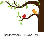 birds on different branches | Shutterstock .eps vector #106652243