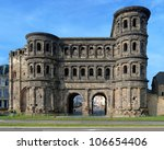 The Porta Nigra (Black Gate) - a 2nd-century Roman city gate in Trier, Germany - stock photo
