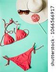red  pink bikini suit  lollipop ... | Shutterstock . vector #1066566917
