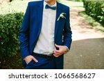 man groom in blue jacket and... | Shutterstock . vector #1066568627