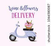Stock vector wine and flowers delivery vector illustration 1066580087