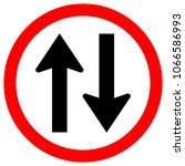 two way traffic road sign ... | Shutterstock .eps vector #1066586993