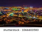 night aerial view of bilbao... | Shutterstock . vector #1066603583