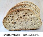 three slices of artisan rye... | Shutterstock . vector #1066681343