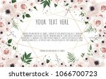 vector floral design card.... | Shutterstock .eps vector #1066700723