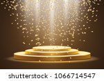 golden podium with a spotlight ... | Shutterstock .eps vector #1066714547