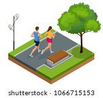 isometric young woman and man... | Shutterstock .eps vector #1066715153