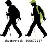 hiker  backpacker  silhouette... | Shutterstock .eps vector #106673117