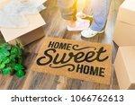 man and woman standing near... | Shutterstock . vector #1066762613