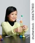 asian children play with straws.... | Shutterstock . vector #1066767803