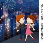 a couple celebrating in city ... | Shutterstock .eps vector #1066791737