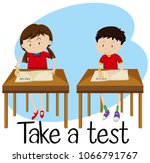 students are taking a test...   Shutterstock .eps vector #1066791767