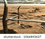 fin of kitesurfing foil on the... | Shutterstock . vector #1066843637