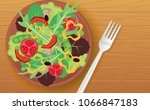 vegetable salad  on the wooden... | Shutterstock .eps vector #1066847183