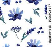 blue flowers watercolor... | Shutterstock . vector #1066926197