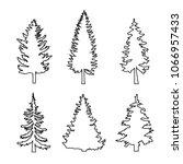 set of conifer trees  pine... | Shutterstock .eps vector #1066957433