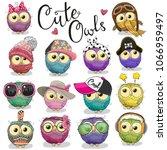 set of cute cartoon owls on a... | Shutterstock .eps vector #1066959497