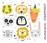 cartoon animal heads bundle.... | Shutterstock .eps vector #1066994027