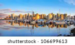Stock photo panoramic view of vancouver skyline at sunset as seen from stanley park bc canada 106699613