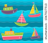 set of boats on the sea waves | Shutterstock .eps vector #1067027513