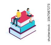 isometric pile of books... | Shutterstock .eps vector #1067087273