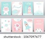 set of cute animals poster... | Shutterstock .eps vector #1067097677