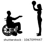 vector silhouette of a disabled ...   Shutterstock .eps vector #1067099447