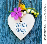 hello may greeting card with... | Shutterstock . vector #1067100473