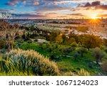 sunset over jerusalem  view... | Shutterstock . vector #1067124023