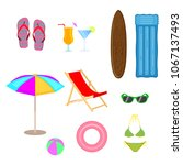 set of beach accessories in... | Shutterstock .eps vector #1067137493