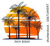palm trees silhouette on island.... | Shutterstock .eps vector #1067144597