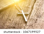 closeup of silver christian... | Shutterstock . vector #1067199527