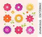 paper cut flowers   set of... | Shutterstock .eps vector #1067208863