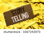 Small photo of Writing note showing Story Telling. Business photo showcasing Tell or write short Stories Share Personal Experiences written tear Cardboard Piece the Golden textured background.