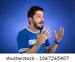 soccer fan in action emotions ... | Shutterstock . vector #1067265407