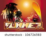 summer background with palm an... | Shutterstock .eps vector #106726583