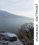 Small photo of trekking on garda lake mountains, photovoltaic plant for a good environmental impact of the technology