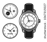 wristwatch and two clock face... | Shutterstock .eps vector #1067315027
