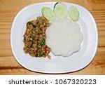 Small photo of Stir fries Ground pork with chili and Thai hot basil (Thai street food : Pad Kra Praow Moo)