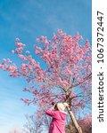 tourist traveler take photos by ... | Shutterstock . vector #1067372447