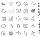 thin line icon set   around the ... | Shutterstock .eps vector #1067381627