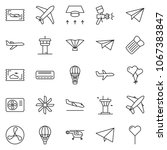 thin line icon set   paper... | Shutterstock .eps vector #1067383847