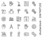 thin line icon set   gear head... | Shutterstock .eps vector #1067407133
