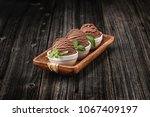 chocolate ice cream with bowl... | Shutterstock . vector #1067409197