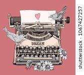vintage typewriter machine with ... | Shutterstock .eps vector #1067427257